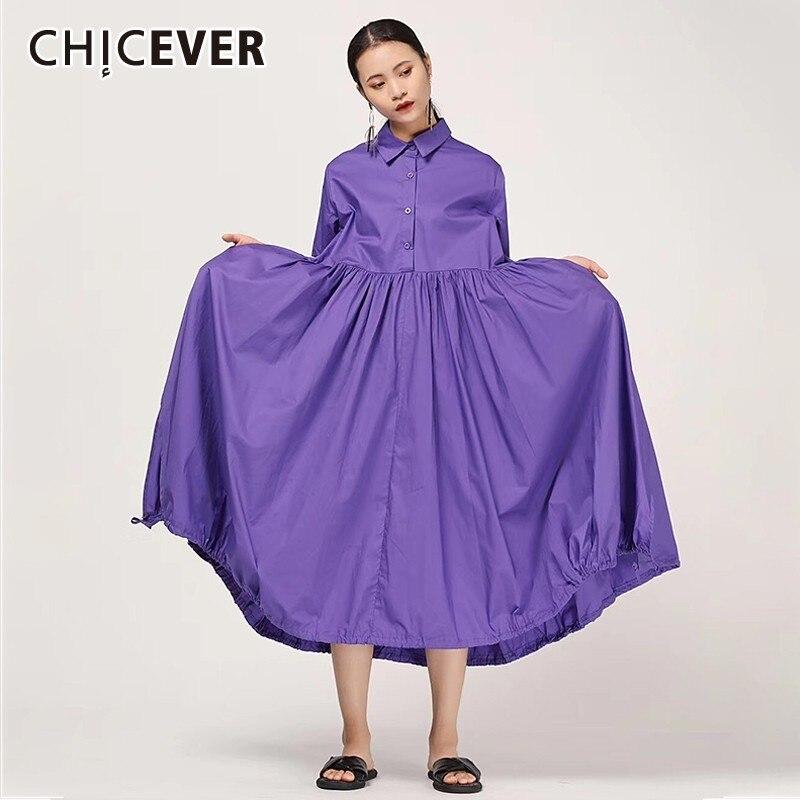 CHICEVER été décontracté solide femmes robe revers à manches courtes bouton lâche grande taille plissée mi-mollet femmes robes 2019 vêtements