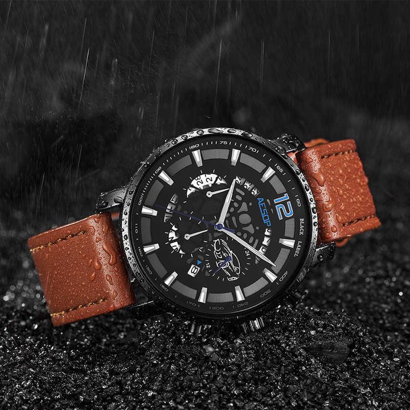 Ezopa sporta mężczyzna zegarek kwarcowy skórzany pasek do zegarka mężczyzna zegar na rękę, odporna na wstrząsy wodoodporna Relogio Masculino Hodinky 1006g