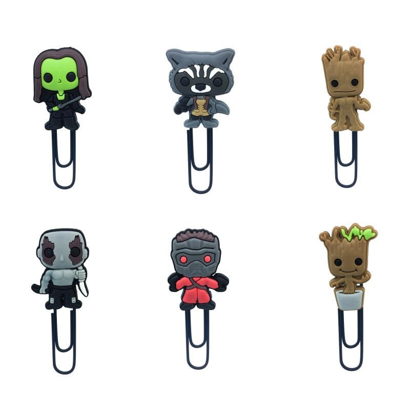 8pcs Cartoon Figure Hot Movie Guardians Of Galaxy Groot Bookmark PVC&Metal Paper Clips Kid Gift Stationery School Supplies