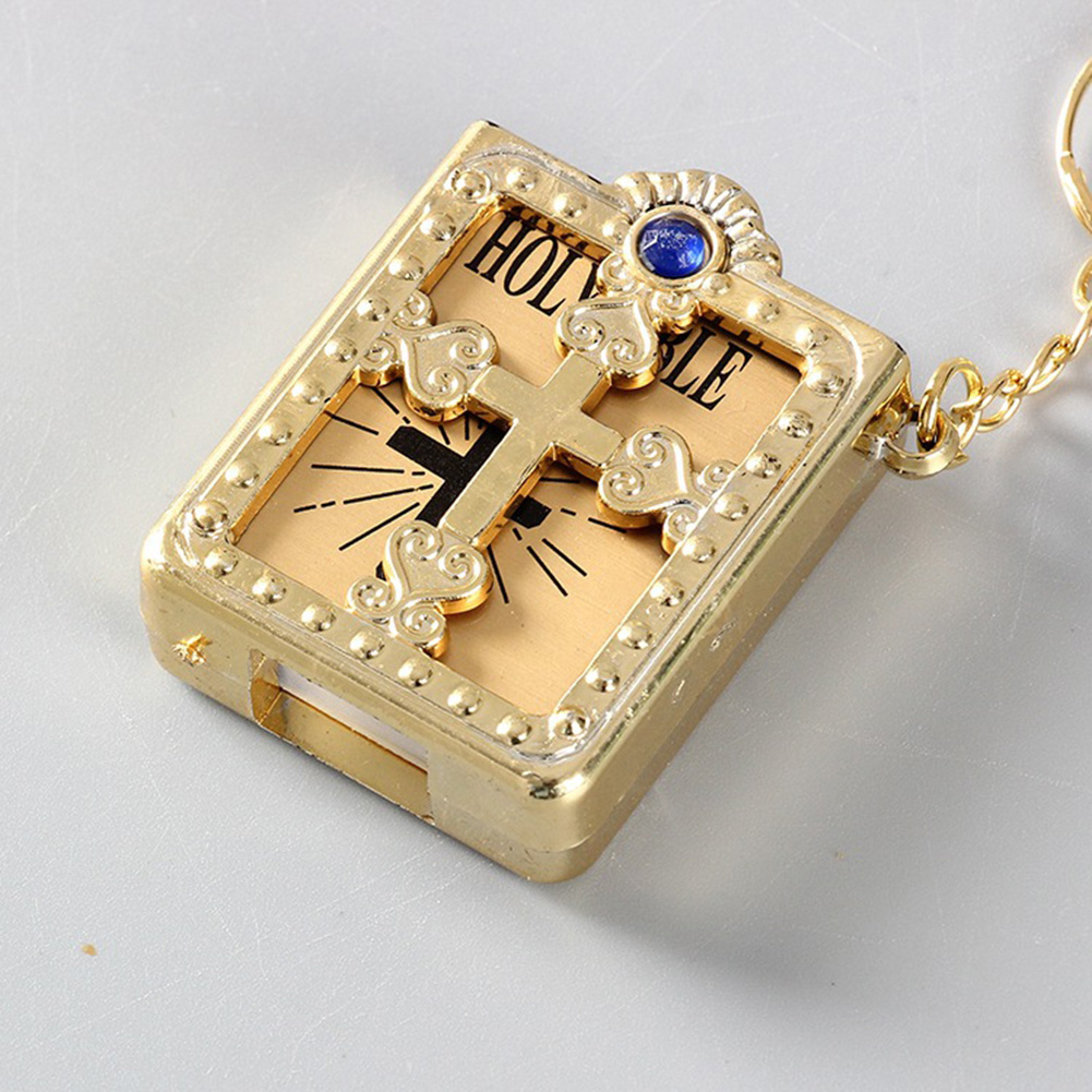 Unisex Mini English HOLY BIBLE Book Pendant Keychain Gold Silver Charm Religious Christian Jesus Cross Key Rings Chains On Bag