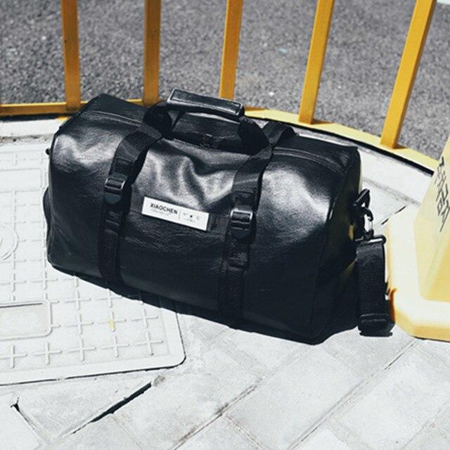 2019 дорожная сумка с обувь карманы из искусственной кожи Большой Ёмкость Сумки черный Чемодан для Для мужчин Для женщин Duffle тотализаторов посылка сумка черный