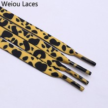 (30pairs/Lot) Weiou Fashion Trend Polyester Printed Flat Sports Shoelace Manufacturers Thermal Transfer Printing Leopard Laces