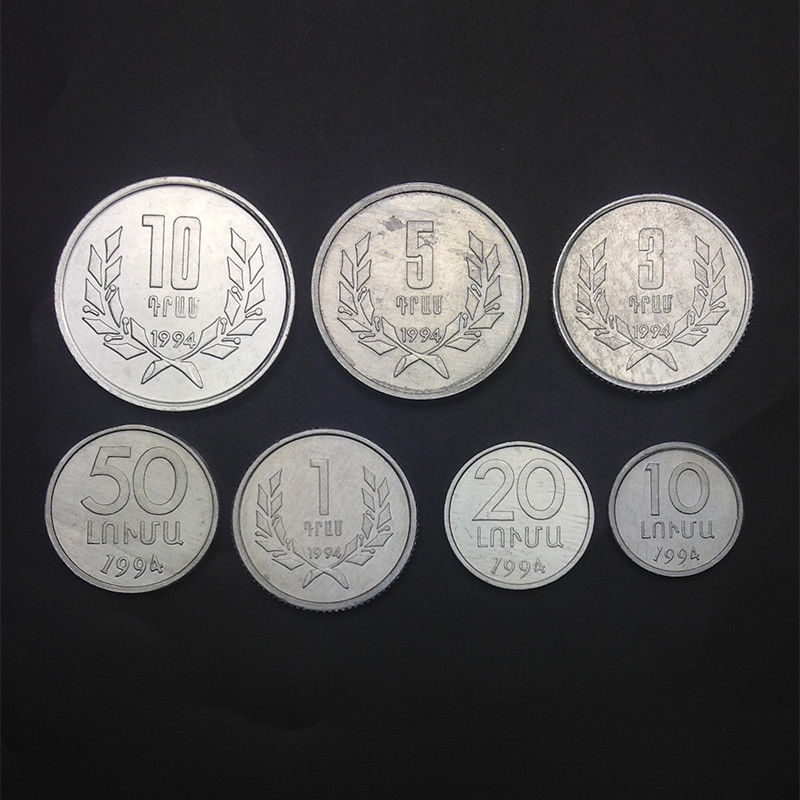 [Y-1]Set <font><b>7</b></font> Pieces Armenia Coins, 10 20 50 Luma+1 <font><b>3</b></font> 5 10 Dram, Asia 100% Real Original Genuine coins, Collection UNCIRCULATED UNC image