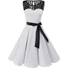 Plus Size Vintage Women Summer Polka Dot Lace Patchwork Sundress Bow Belted Rockabilly Swing Cocktail Prom Evening Party Dress цена 2017
