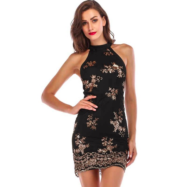 Sexy Women Mini Dress Choker Sleeveless Sequined Slim Bodycon Dress 2019  New Backless Party Club Dresses Gold Black Black 1 cd3d31752232