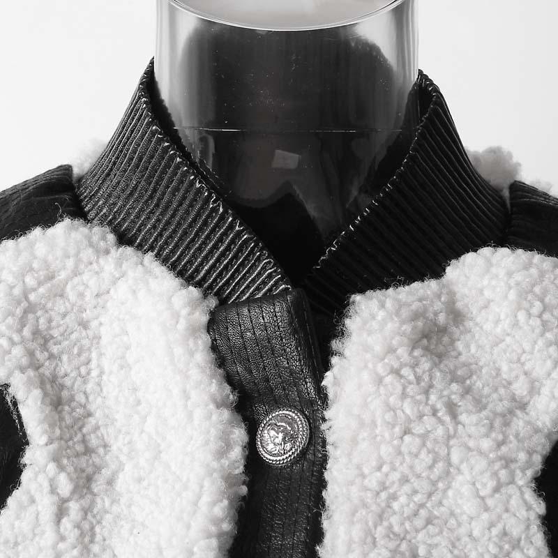 Printemps 2019 Laine Fendue Jl826 Manches Femmes En Marée Nouveau Col Mode Veste Pu Hiver À Longues Manteau D'agneau White Montant eam Cuir Commune De 6EdBqd