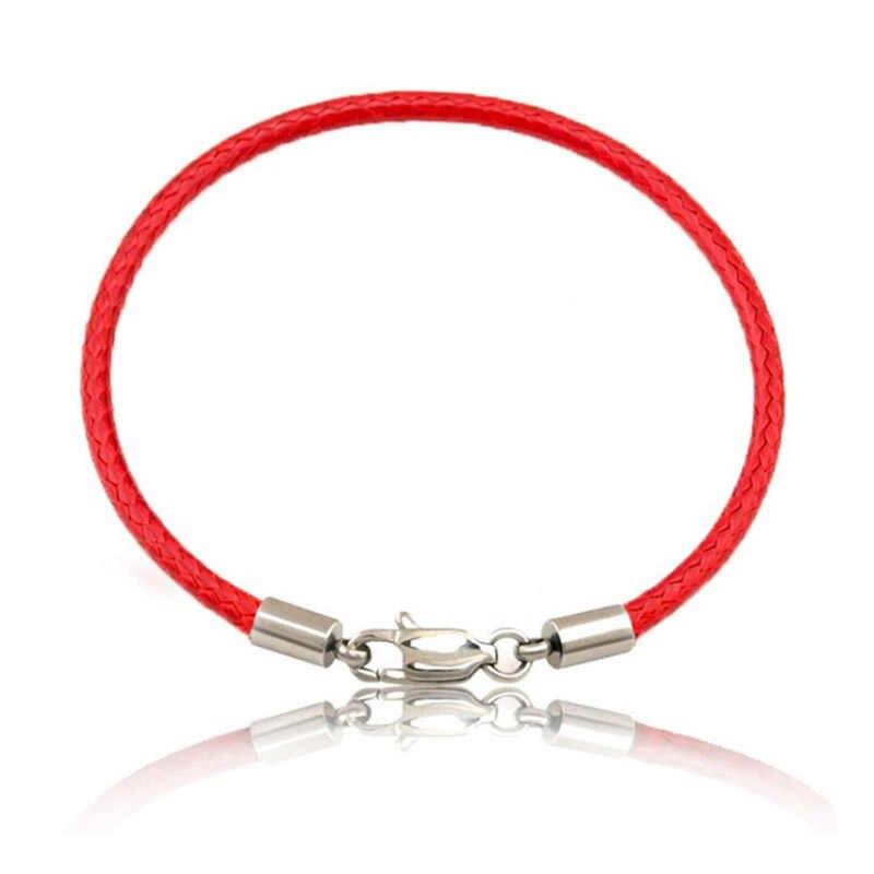 חם מזל זהב צלב לב אדום צמיד לנשים ילדי אדום מחרוזת מתכוונן בעבודת יד צמיד DIY תכשיטים