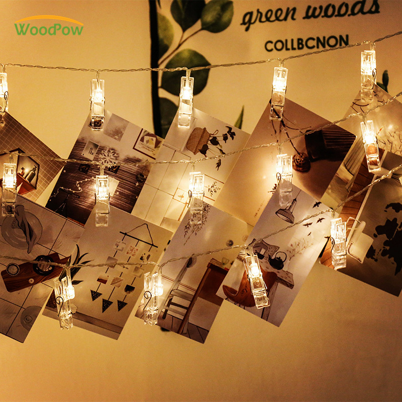 WoodPow Fairy Card Photo Clip String Lights 1M 3M 6M USB Battery Power Christmas Garlands Wedding Party LED Lights Decoration