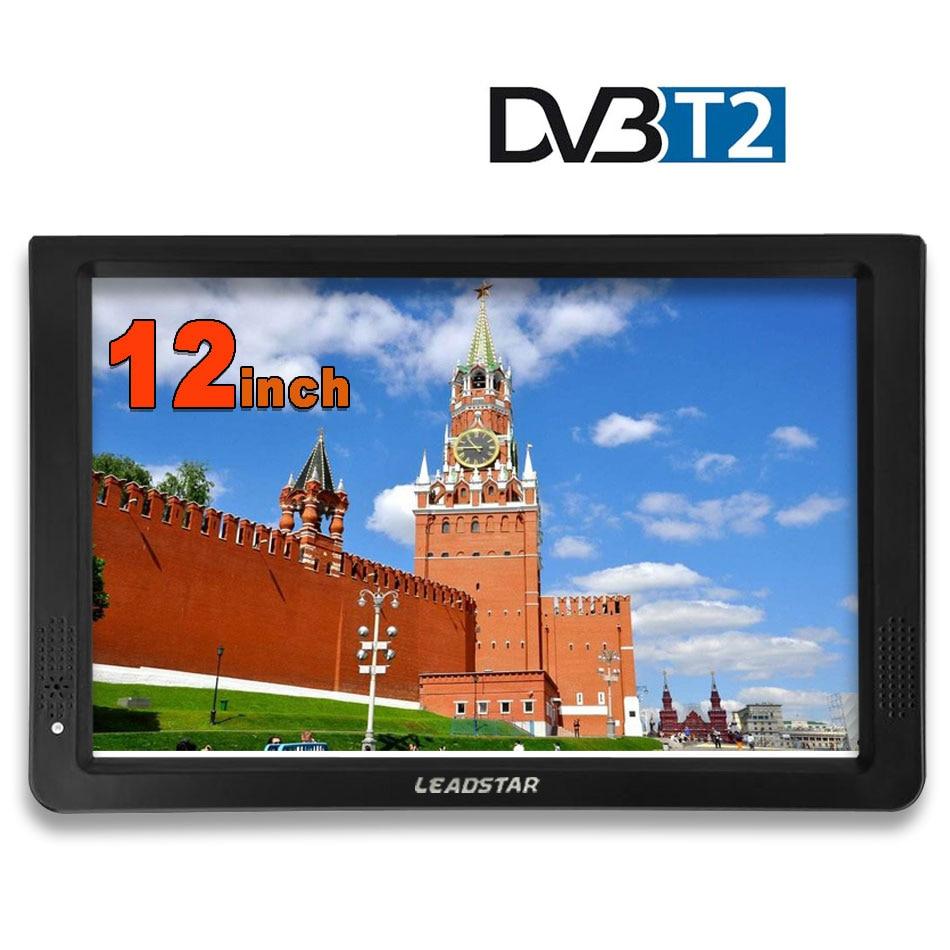Portable 12 pouces Tft Led 1080P Hd Pvr H.265 Dvbt2 numérique analogique Tv voiture télévision Support Usb Tf lecteur de carte