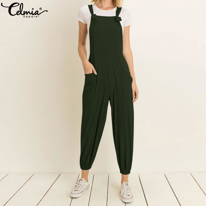 Celmia Plus Size Women Strap   Jumpsuits   Summer Rompers High Waist Sleeveless Harem Pants Casual Loose Elastic Playsuits Dungarees