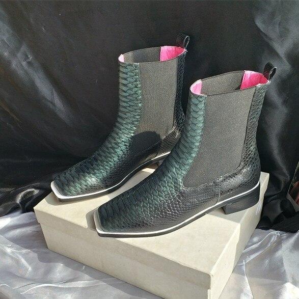 Осень зима 2018, женские ботильоны из телячьей кожи, ботинки «Челси» на среднем каблуке с квадратным носком, зеленые ботинки из змеиной кожи, ж
