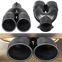 63mm Double Barrel Car Exhaust Pipe Muffler 2.5'' Universal Car Inlet Dual Rear Muffler Exhaust Tip Tail Pipe Outlet