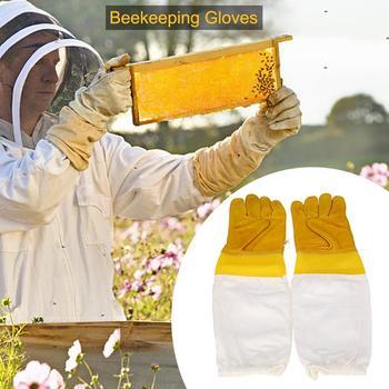 1 para ochronnych rękawic pszczelarskich koziej skóry pszczelarstwo wentylowane długie rękawy rękawice z siatki sprzęt pszczelarski narzędzia tanie i dobre opinie Pszczelarstwo Rękawice high quality goatskin + polyester white cloth