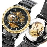 Os homens Assistir Banda de Aço Inoxidável Relógio Mecânico Automático de Esqueleto Relógios Mecânicos Preto Presentes Masculinos relogios masculino