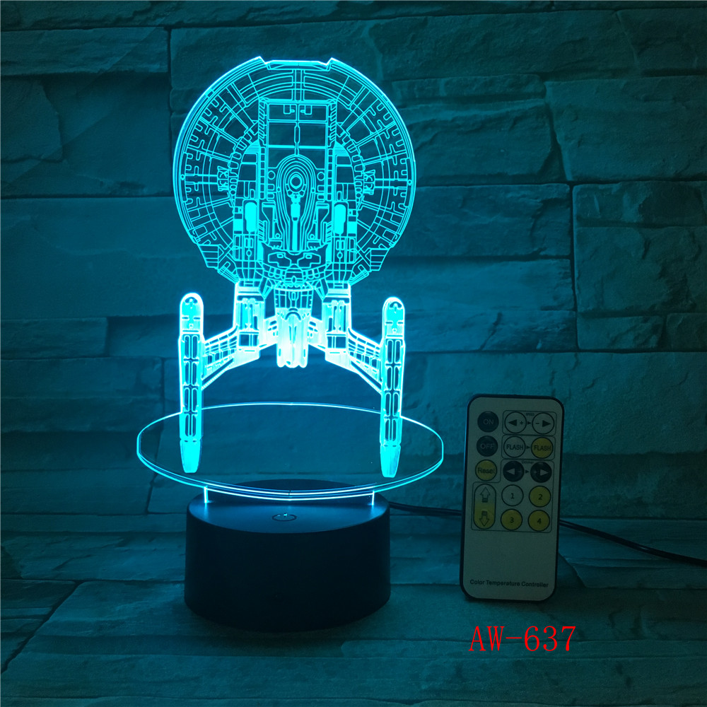 7 Colorful Changeable Mood LED Lamp 3D Led Spaceship Earth Space Desk Lighting Bedroom Bedside Decor Night Light AW-637