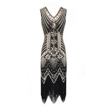 AL'OFA Sequins Evening Dress Women Fashion V-Neck Sleeveless Tassel Hem Zipper Floral Dress Wedding Proms Party Dresses