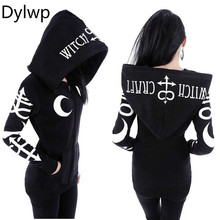 Gothic Punk Hoodies Women Casual Harajuku Black Hoodie Witch Moon Print Letters Loose Hoody Autumn 2018 Long Sleeve Sweatshirt instahot hoodies floral embroidery dark black gothic punk velvet flare long sleeve cheongsam dress chinese style casual autumn