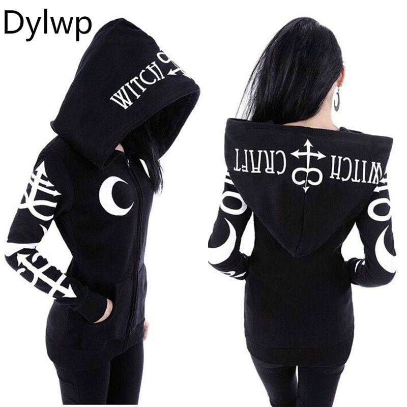 Gothic Punk Hoodies Women Casual Harajuku Black Hoodie Witch Moon Print Letters Loose Hoody Autumn 2018 Long Sleeve Sweatshirt