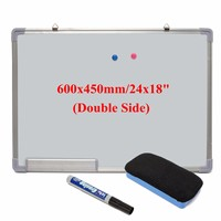 Kicute 600x450MM Magnetic Dry Erase Whiteboard Writing Board Double Side With Pen Erase Magnets Buttons For Office School