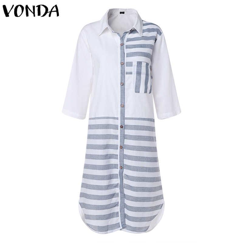 538a00842d VONDA Women Plus Size Dress 2019 Autumn Casual Striped Patchwork Dresses  Long Sleeve Pockets Asymmetric Split Cotton Vestidos