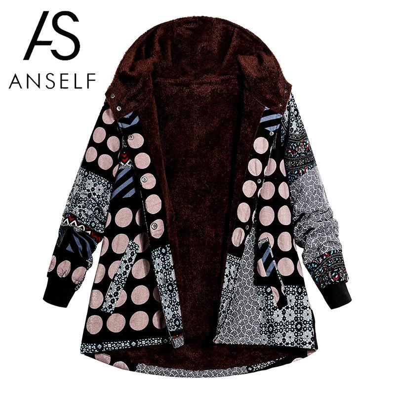 Vintage Women Print Hooded Parka Coat Plus Size Fleece Lined Press Stud Long Sleeve Manteau Femme Outerwear Casual   Basic     Jacket