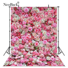 Neoback Vinyl Valentines Party Rose Bloemen Muur Bruiloft Decoratie Board Foto Achtergrond Betoverde Studio Fotografie Achtergronden