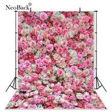 Neoback vinil namorados festa rosa floral parede decoração do casamento quadro foto pano de fundo estúdio encantado fotografia fundos