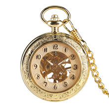 Retro Gold Mechanical Pocket Watch Hand-Wind Transparent Skeleton Pendant Watch for Men Luxury Pocket Clock Gifts Unisex цена