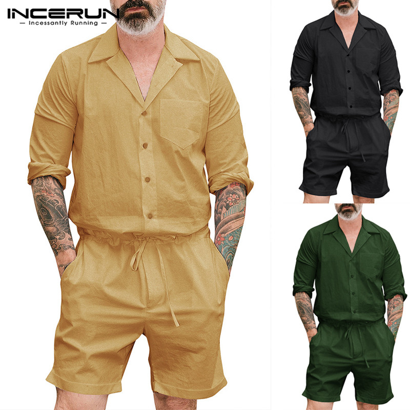 INCERUN Fashion Men Rompers Long Sleeve Pockets Solid Color Jumpsuit Pants 2019  Streetwear Men Cargo Overalls Playsuits S-5XL