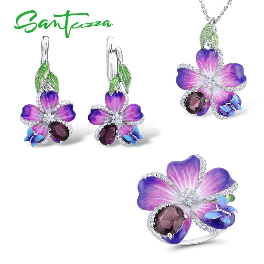 SANTUZZA Silver Jewelry Set For Women Purple Flower Pendant Ring Set 925 Sterling Silver Chic Fashion