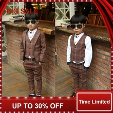 цены 2018 New Children Baby Boys Suits Kids Blazer Boys Formal Suit For Weddings Boys Clothes Set Jackets+Vest+Pants 3pcs 3-12Y