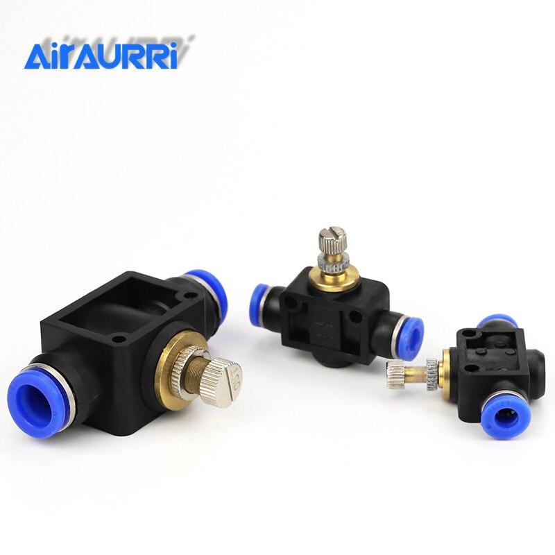 AIRAURRI Pneumatic Airflow Regulator 4mm 6mm 8mm 10mm 12mm OD Hose Tube Gas Flow