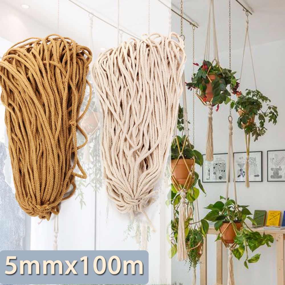 5mm Weiß Braun Geflochtene Baumwolle Seil Verdreht Schnur Seil DIY Handwerk Macrame Woven String Home Textil Zubehör Handwerk Geschenk