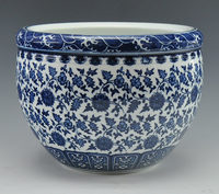Chinese Antique Qing Qianlong Mark Blue And White Porcelain Ceramic Fish Bowl Flower Pot