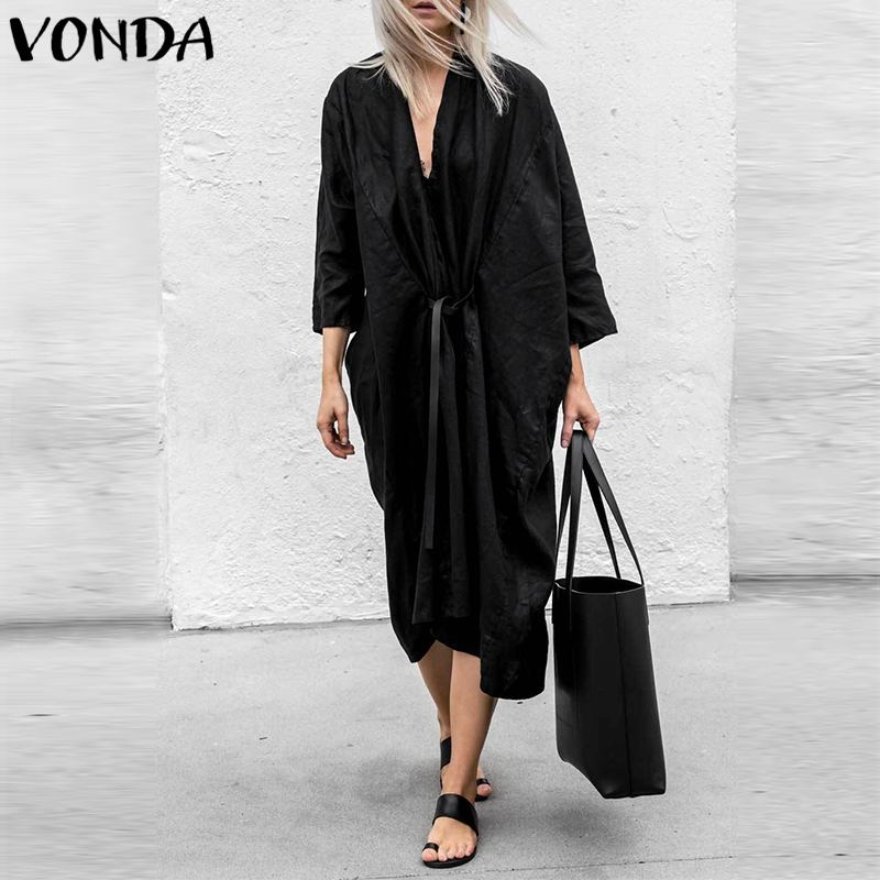 VONDA Women Dress 2019 Sexy V Neck Front Open Cardigan Dresses Casual Loose Solid Mid-Calf Club Party Vestidos Black Plus Size