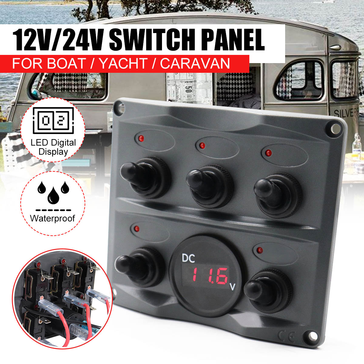Car Toggle Switch Panel With Fuse Waterproof 5 Gang Led Digital Display On Off Switch Panel 12