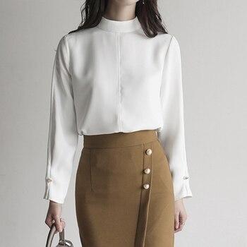61afe131d4640 2018 nuevas camisas cortas de mujer de manga completa de cuello alto cuello  redondo Ol blusa