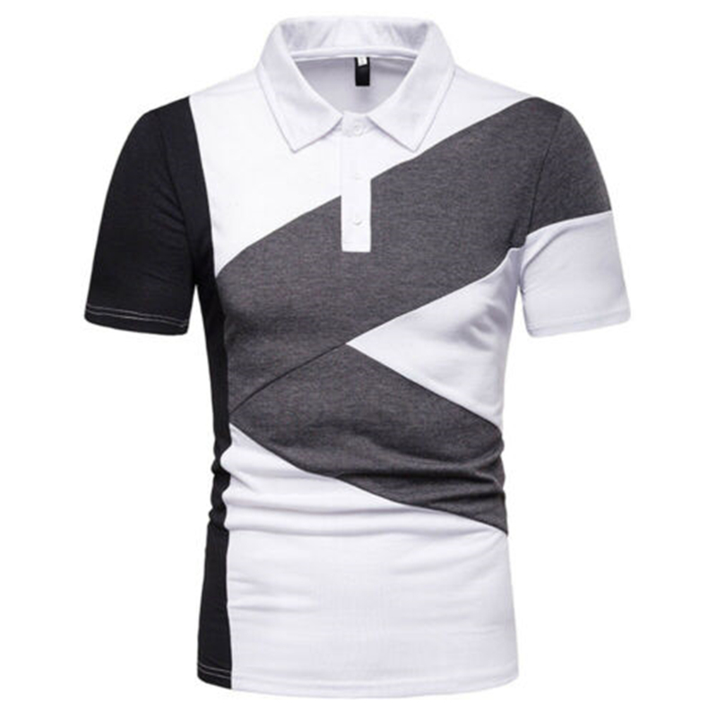 New Top Men Slim Fit Short Sleeve Casual Golf Jersey Tops Para Hombre Tommy 2019 Wild Contrast Color