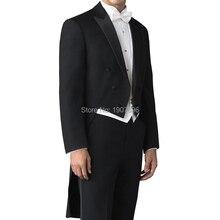 Сшитый на заказ Свадебный Мужской фрак для жениха костюмы двубортный комплект из 3 предметов черный пиджак брюки белый жилет для выпускного вечера вечерние