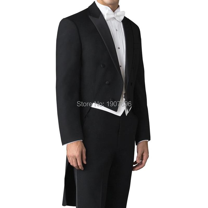 Sur mesure mariage homme queue manteau pour marié costumes Double boutonnage 3 pièce ensemble noir veste pantalon blanc gilet pour bal de promo scène-in Costumes from Vêtements homme    1