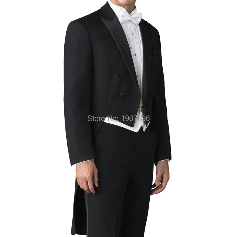 Tailor Made Wedding Man Tail Coat for Groom Suits Double Breasted 3 Piece Set Black Jacket Pants White Vest for Prom Party Stage