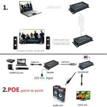 POE Genişletici HDMI 100 m Genişletici üzerinden Ses Çıkarıcı ile RJ45 Ethernet UTP tarafından TCP IP Cat6 POE 100 m extender HDMI Ethernet