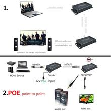POE エクステンダー HDMI 100 m とオーディオ抽出上 RJ45 イーサネット Utp Cat6 による TCP IP POE 100 メートルエクステンダー HDMI イーサネット