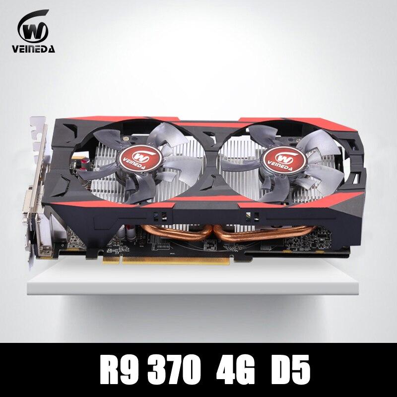 Tarjeta de vídeo 100% original R9 370 4 GB 256Bit GDDR5 tarjeta de gráficos ATI Radeon juegos
