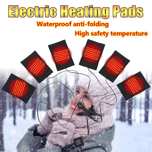 6 in 1 1 Set USB Electric Heating Pads for DIY Heated Clothing Outdoor Safety Clothes Heating Jacket Vests Mobile Warming Gear