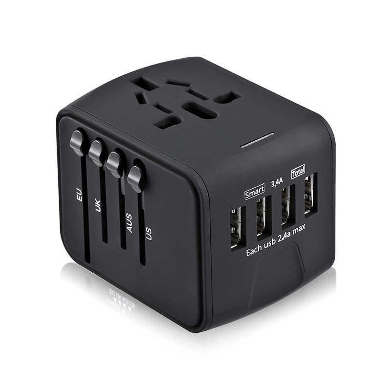 Адаптер для путешествий Международный универсальный адаптер питания все-в-одном с 3.4A 4 USB по всему миру настенное зарядное устройство для Великобритании/ЕС/AU/Азии