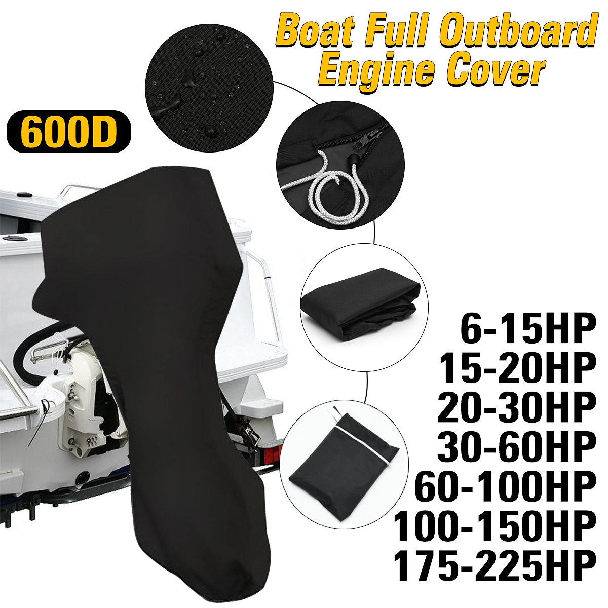 Cover Motors Boat Outboard-Engine-Protector 600D Waterproof For Black 6-225HP