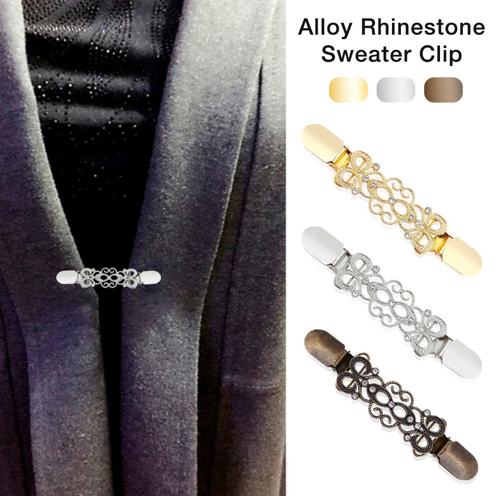 Women's Cardigan Clip Alloy Rhinestone Sweater Clip Cardigan Connection Buckle Collar Clip Pin Brooch Clothing Accessories