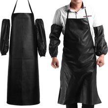 Водонепроницаемый Фартук для шеф-повара с защитой от масла для ресторана, кожаный фартук с манжетами, Кухонные фартуки, очищающие быстросохнущие черные