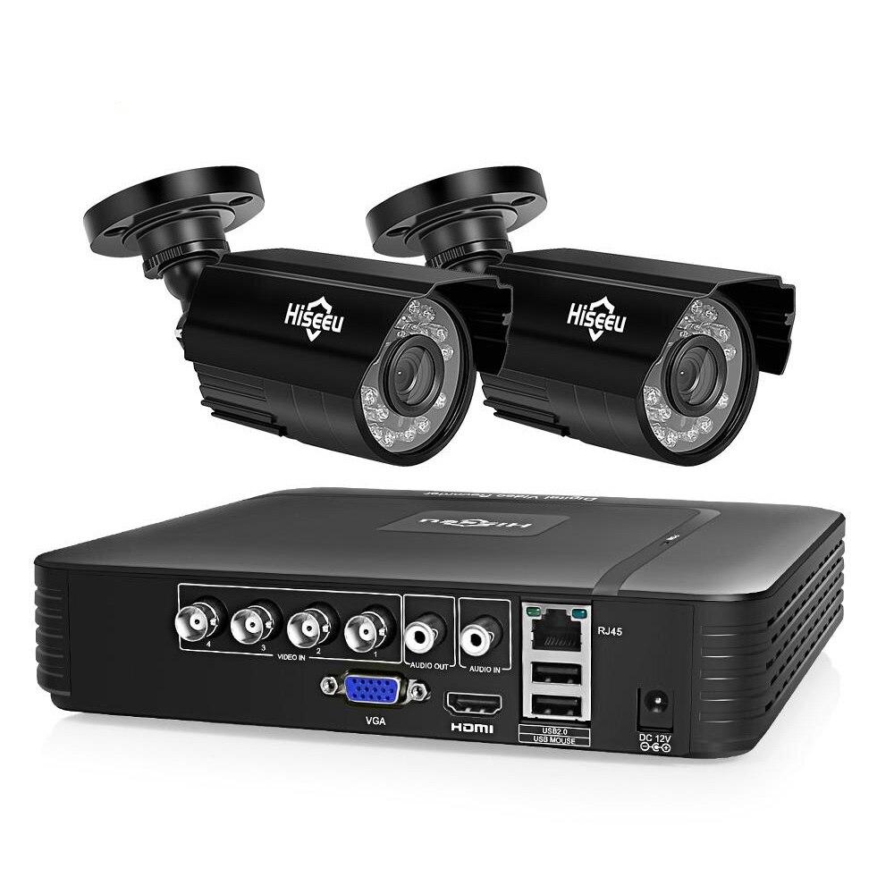 Hiseeu 2 Pairs HD 720P AHD Image 4CH DVR Security Kit CCTV System Waterproof IR P2P Surveillance Camera Set Indoor Outdoor
